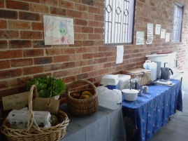 Produce and refreshments table