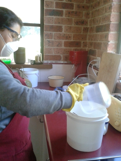 Adding caustic soda into water